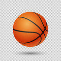 Vector realistic flying basketball closeup  on transparent background. Design template in EPS10. Royalty Free Stock Photo