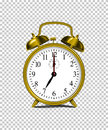 Vector realistic golden alarm clock on transparent background.