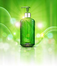 Vector realistic, green, transparent bottles 3d with soap pump on green background and sun rays. Cosmetic vial wish herbal shampo