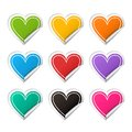 Vector realistic heart colorful Sticker set Royalty Free Stock Photo