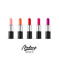 Vector realistic illustration of multicolor lipstick. Makeup icons set. Red and pink lipsticks  on white background. Royalty Free Stock Photo