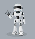 Vector realistic illustration of the white robot. One hand up. Royalty Free Stock Photo
