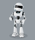 Vector realistic illustration of the white robot. Robot full of enthusiasm. Royalty Free Stock Photo
