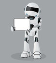 Vector realistic illustration of the white robot. Tablet in hands. Royalty Free Stock Photo