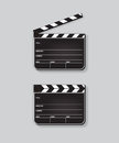 Vector realistic opened and closed clapperboards isolated on grey background.