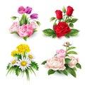 Vector realistic rose tulip daisy peony bouquet