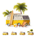 Vector realistic vintage hippie van icon set