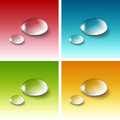 Vector realistic water drops set on red blue yellow green white background Royalty Free Stock Image