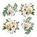 Vector realistic watercolor rose bouquet leaf set Royalty Free Stock Photo