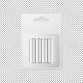 Vector realistic white alkaline AA batteries in blister packed icon set. Design template for branding, mockup. Closeup