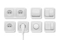 Vector realistic white switches and socket set on white background. Design template in EPS10.