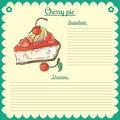 Vector recipe. Cherry pie