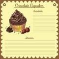 Vector recipe. Chocolate cupcake