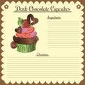 Vector recipe. Dark chocolate cupcake