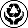 Vector recycle symbol in hands icon Stock Images