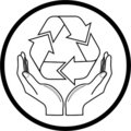 Vector recycle symbol in hands icon Stock Photos