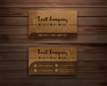 Vector recycled paper business cards on wooden Royalty Free Stock Photo