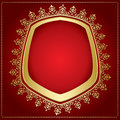 Vector red background with gold frame and transparent shadow