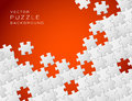Vector red background puzzle pieces Royalty Free Stock Photos