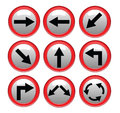 Vector red black traffic sign isolated on gray background illustrator Royalty Free Stock Images