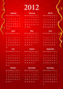 Vector red calendar 2012 Stock Photography