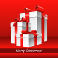 Vector Red Christmas background with gifts Royalty Free Stock Images