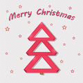 Vector red christmas card stylized paper ribbon in for of tree Royalty Free Stock Photography