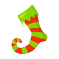 Vector of red Christmas stocking isolated on white. Cartoon style. Cute funny icon. illustration.