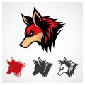 Vector red fox head symbol template Stock Image