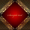 Vector red frame gold lace Stock Photography