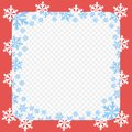 Vector red frame pattern. Christmas and New year with white and blue snowflakes. Transparent isolated background.