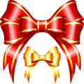 Vector red and gold gift bow and ribbon on the white background Stock Image