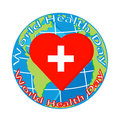 Vector red heart with cross on globe for health day Royalty Free Stock Photo