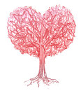 Vector red heart shape tree background is my creative handdrawing and you can use it for valentines day design and etc made in Stock Photos