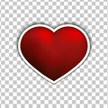Vector Red heart sticker flat icon on white background