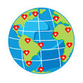Vector red hearts with cross on map globe for health day Royalty Free Stock Photo