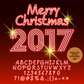 Vector red neon Merry Christmas 2017 greeting card