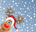vector red nosed reindeer Royalty Free Stock Photo