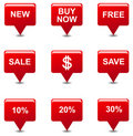 Vector red tag sale button icons Royalty Free Stock Photos