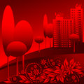 Vector red urban landscape Royalty Free Stock Photo