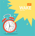 Vector red wakeup clock card flat design illustration place for your text Royalty Free Stock Photography