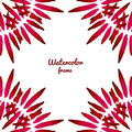 Vector red watercolor frame. Vector border frame. Can be used for banner, cards, flayer, wedding invitation