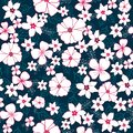 Vector Red and White Flower Mix Seamless Pattern