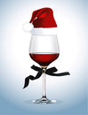 Vector of Red wine glass. Christmas party Royalty Free Stock Photo