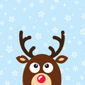 Vector Reindeer Christmas Card with snow backgroun Stock Photo