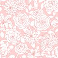 Vector repeat pattern with lily, chrysanthemum, camellia, peony and rose flowers outline on the pink background.