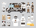 Vector restaurant cafe design set street dairy food truck shop flyer menu package t shirt cap uniform and display layout Stock Photography