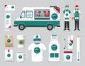 Vector restaurant cafe design set street food truck shop flyer menu package t shirt cap uniform and display layout of Stock Photo