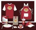 Vector restaurant cafe set flyer, menu, package, t-shirt, cap, u Royalty Free Stock Photo