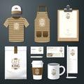 Vector restaurant cafe set flyer, menu, package, t-shirt, cap, uniform design Royalty Free Stock Photo